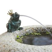 Detail runder Granitbrunnen mit Frosch